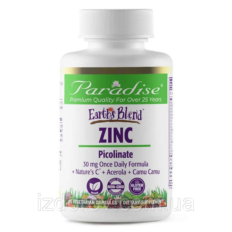Paradise Herbs, earth's Blend, Zinc Picolinate, Цинк picolinate, 90 рослинних капсул. США