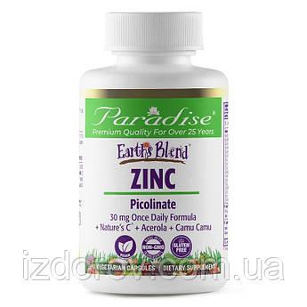 Paradise Herbs, Earth's Blend, Zinc Picolinate, Цинк пиколинат, 90 растительных капсул. США