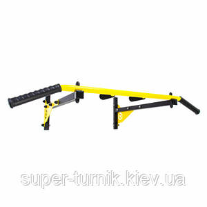 Турнік настінний Besport BS-T0004 з 4 ручками жовтий