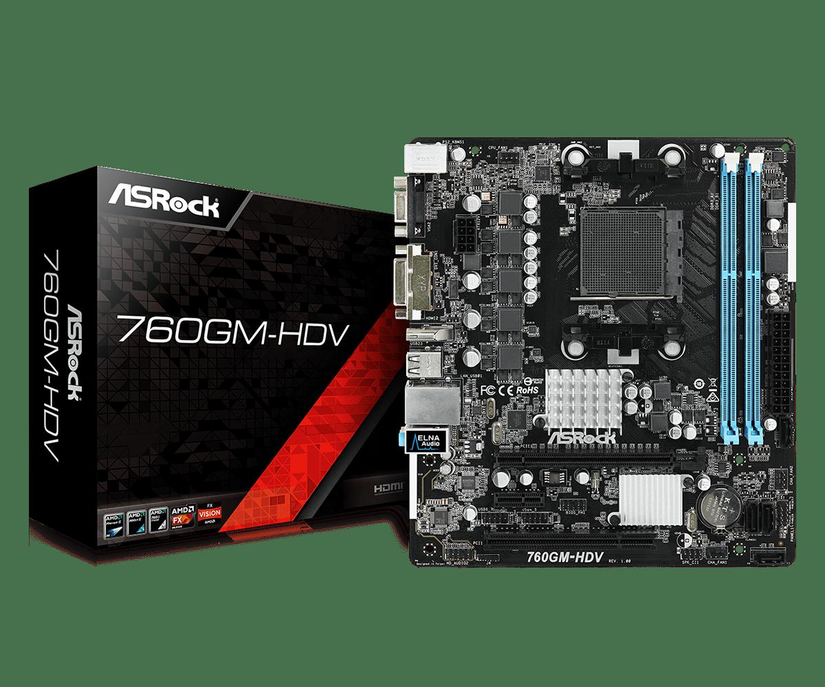 Материнская плата ASRock 760GM-HDV AMD 760G, sAM3+, mATX