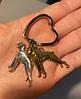 Брелок на ключі метал порода собака 2 дога сріблястий і золотистий, фото 2