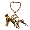 Брелок на ключі метал порода собака 2 дога сріблястий і золотистий, фото 4