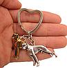 Брелок на ключі метал порода собака 2 дога сріблястий і золотистий, фото 3