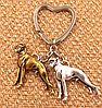 Брелок на ключі метал порода собака 2 дога сріблястий і золотистий, фото 5