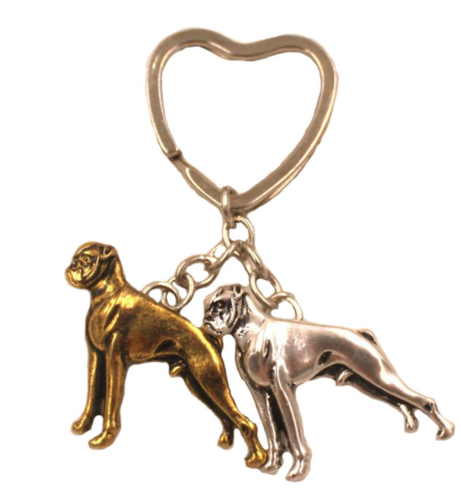 Брелок на ключі метал порода собака 2 дога сріблястий і золотистий