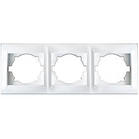 Рамка тримісна для розеток та вимикачів Erste Prestige біла (9206-83)