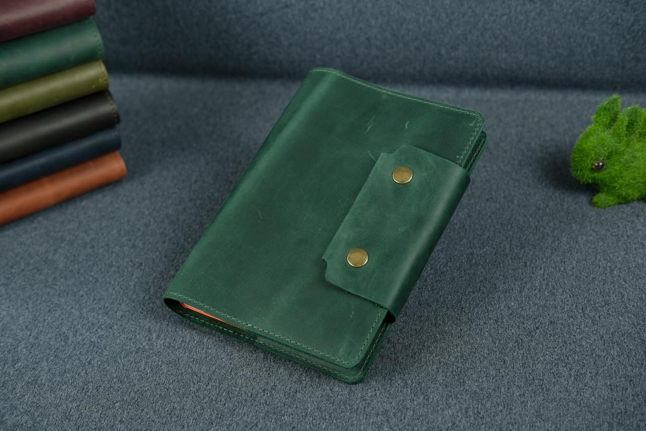 """Обложка для блокнота А5 """"Модель № 2"""", Винтажная кожа, цвет Зеленый"""