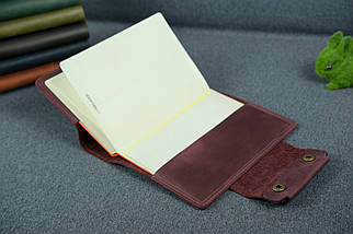 """Обкладинка для блокнот А5 """"Модель № 2"""" Вінтажна шкіра колір Бордо, фото 3"""