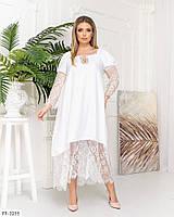 Женское летнее платье сарафан длинное вставки кружевом большие размеры: 48-54, 56-62