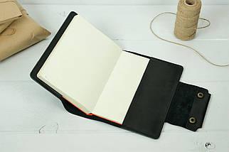 """Обкладинка для блокнота А5 """"Модель № 2"""" Шкіра краст колір Чорний, фото 2"""