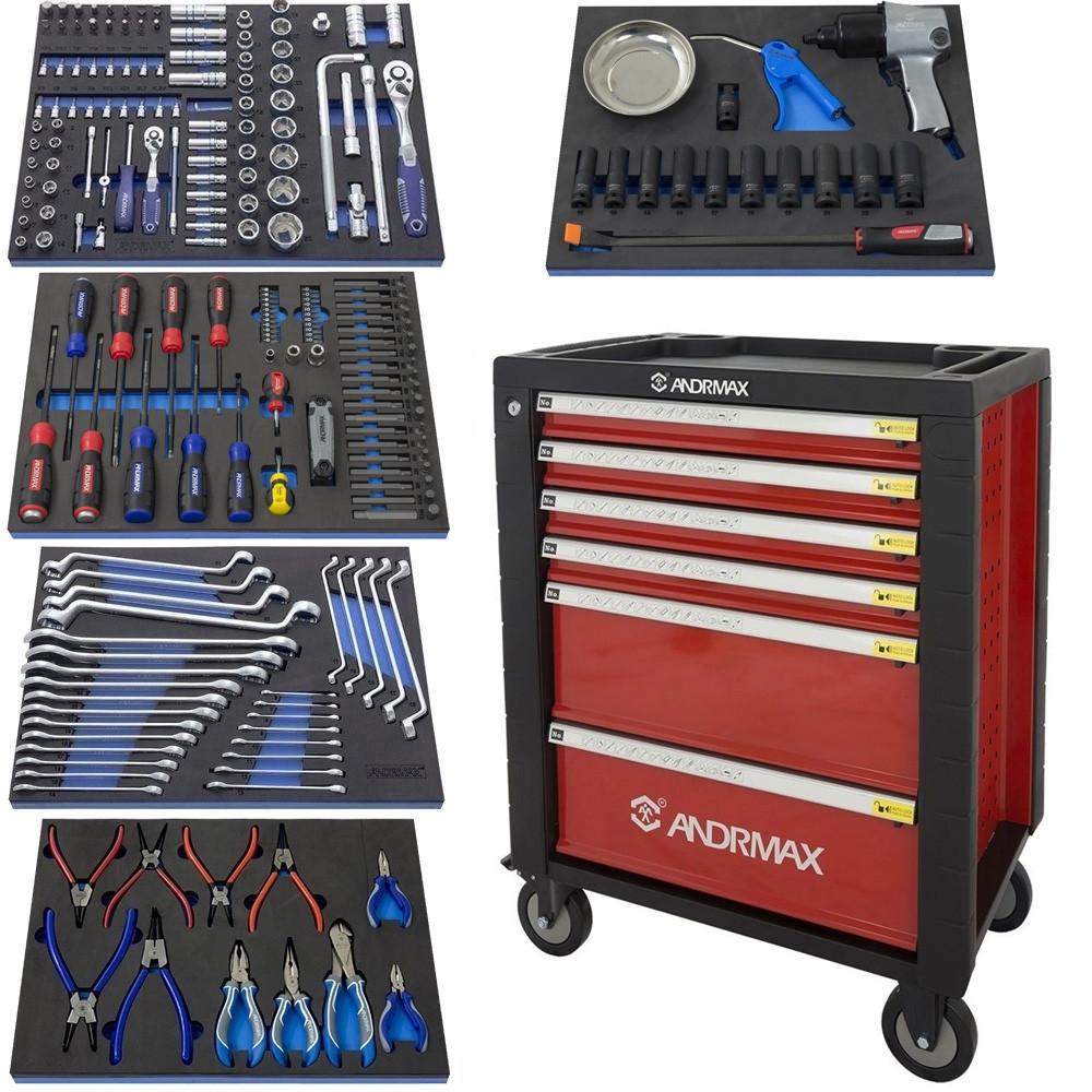 Візок 6 полиць з набором інструменту 230 предметів ANDRMAX