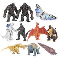 Набір фігурок Годзілла+Кінг конг 10 шт пластикові фігурки Godzill&King Kong