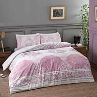 Постельное белье TAC Турция, качественный семейный комплект из ранфорса (100 хлопок), розовый