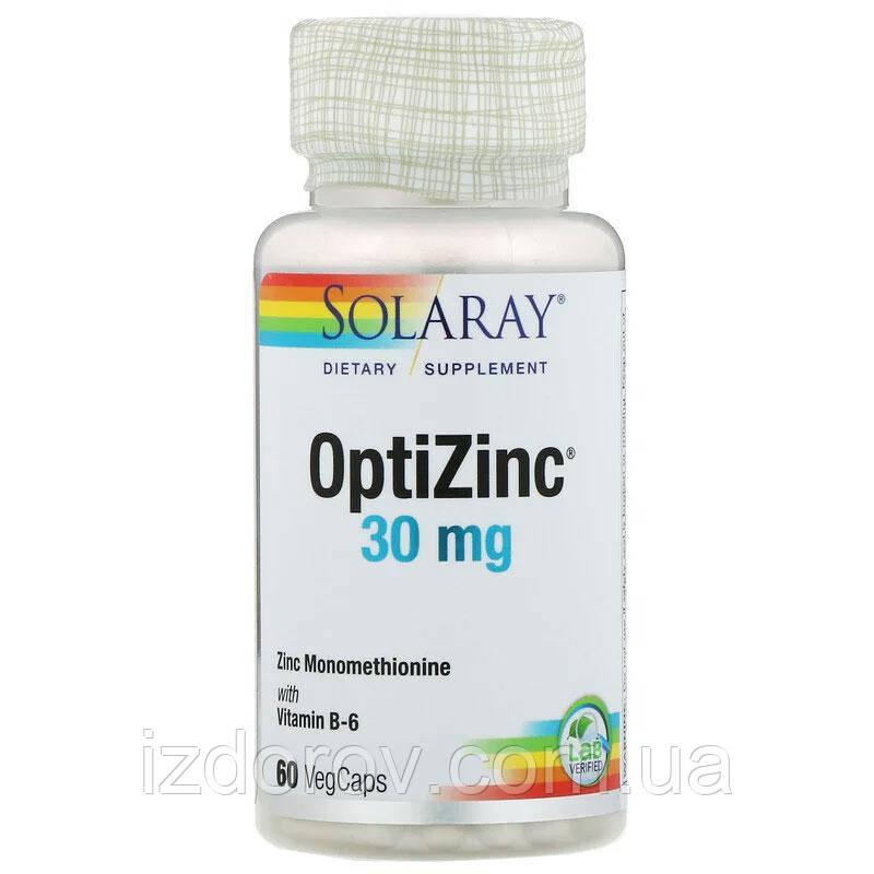 Solaray, OptiZinc 30 мг, ОптиЦинк, 60 растительных капсул