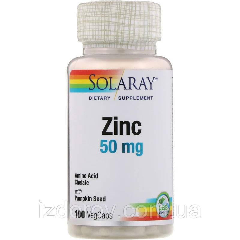 Solaray, Цинк 50 мг, Zinc, 100 вегетарианских капсул