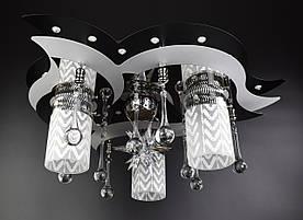Люстра потолочная Космос с цветной LED подсветкой и авто отключением с пультом 5521/3+1 Черный 20х44х44 см.