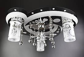 Люстра стельова Космос з кольоровий LED підсвічуванням і авто відключенням з пультом 5533/3+1 Чорний 20х45х45 див.
