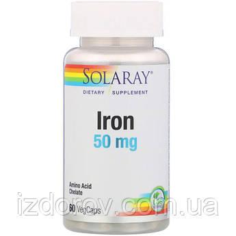 Solaray, Железо 50 мг, Iron, 60 вегетарианских капсул