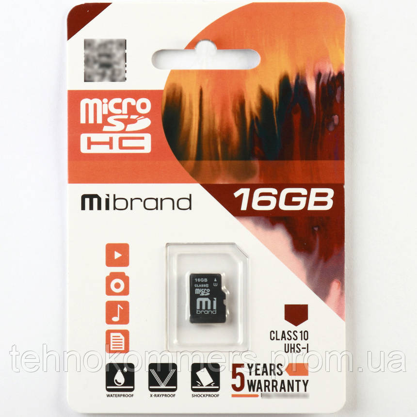 Карта пам'яті Mibrand microSDHC 16GB Class 10 UHS-I Без адаптера, фото 2