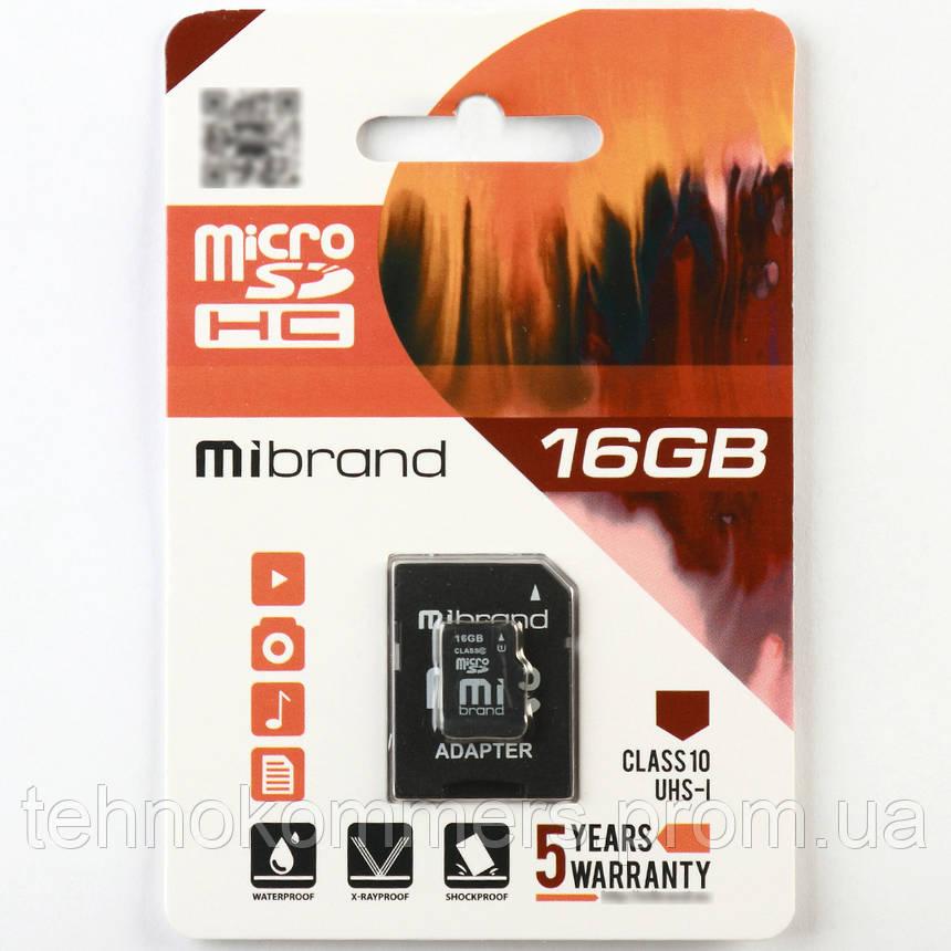 Карта пам'яті Mibrand microSDHC 16GB Class 10 UHS-I +SD-адаптер, фото 2