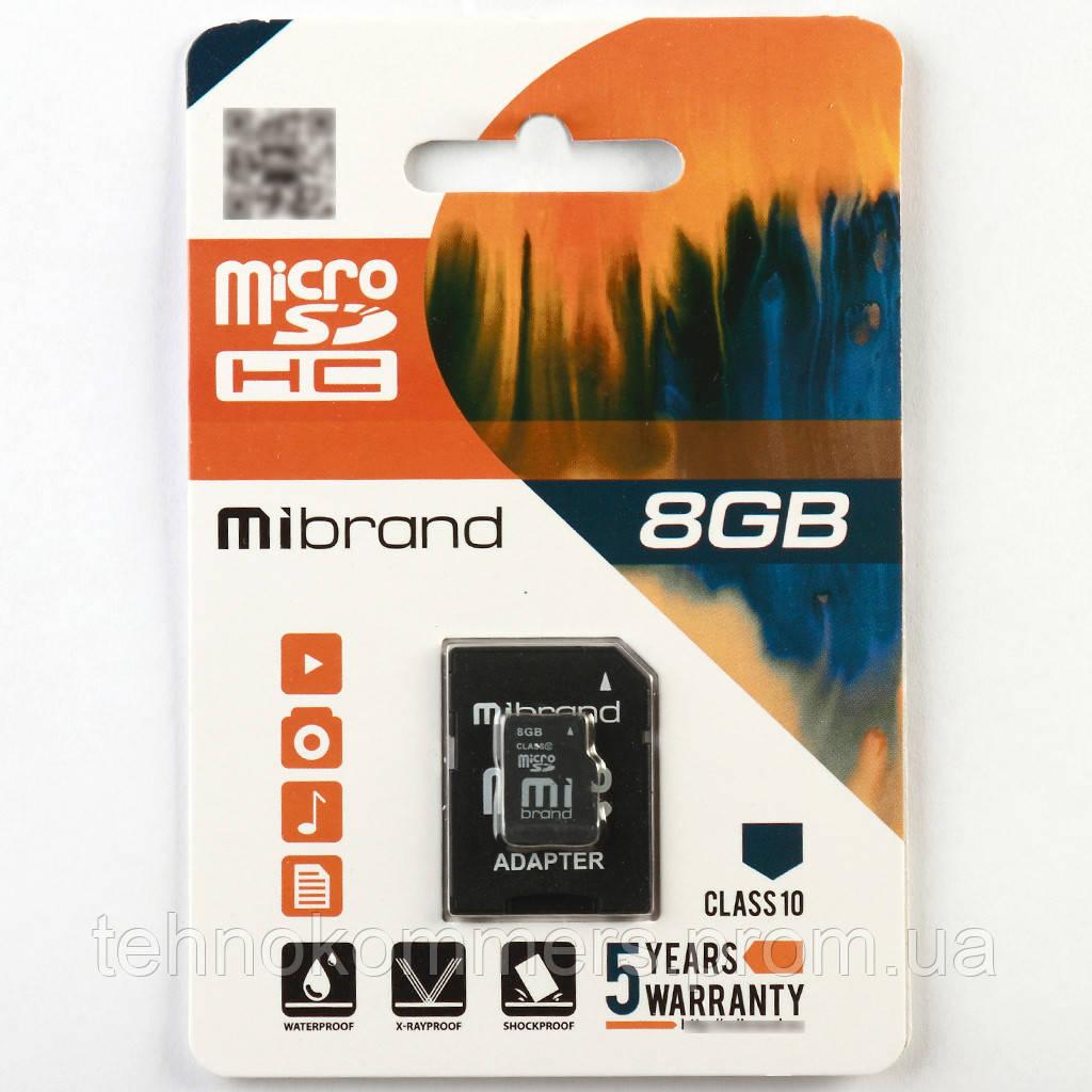 Карта пам'яті Mibrand microSDHC 8GB Class 10 +SD-адаптер