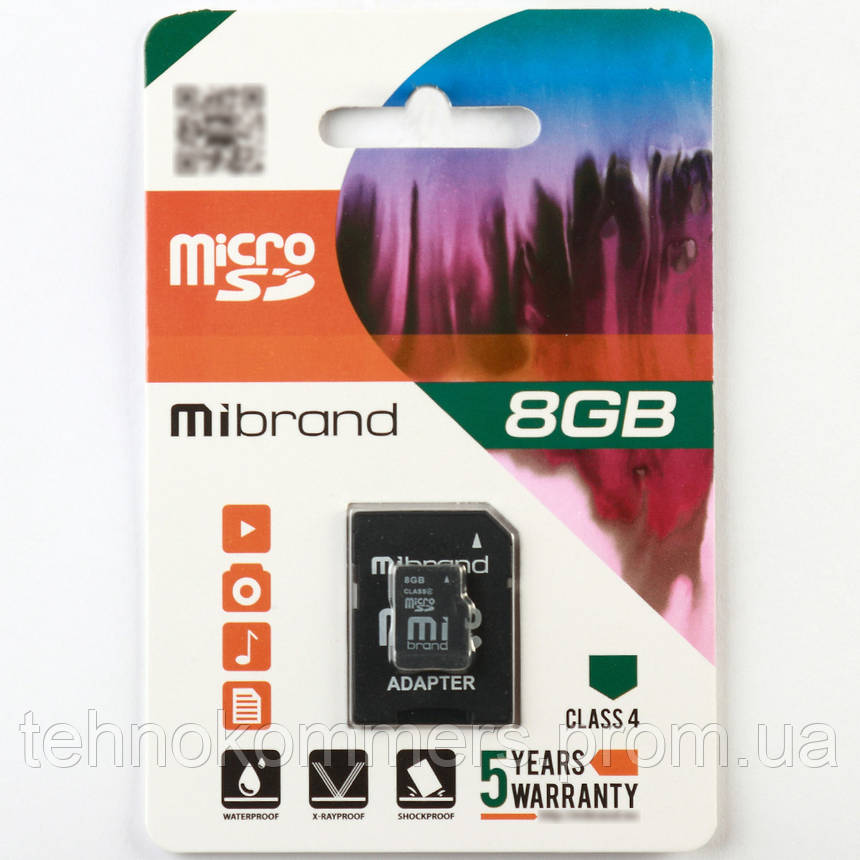 Карта пам'яті Mibrand 8GB Class 4 +SD адаптер, фото 2