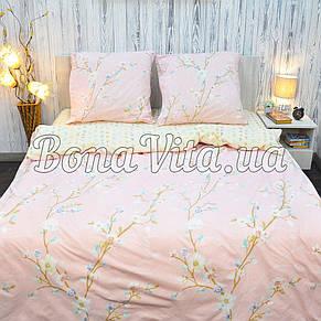 Постільна білизна бязь голд люкс євро розмір рожево-жовтий., фото 2