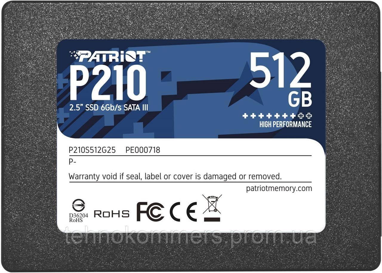 "Накопичувач SSD Patriot P210 512GB 2.5"" SATAIII 3D QLC"