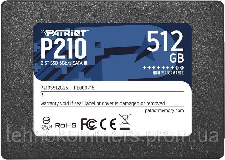"Накопичувач SSD Patriot P210 512GB 2.5"" SATAIII 3D QLC, фото 2"