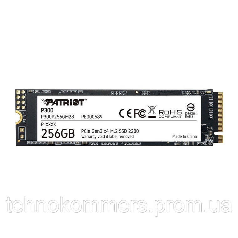 Накопичувач SSD Patriot P300 256GB M.2 PCI Express 3.0x4 3D TLC, фото 2