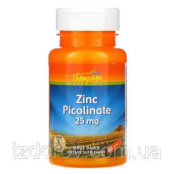Thompson, Цинк пиколинат 25 мг, Zinc Picolinate, 60 таблеток