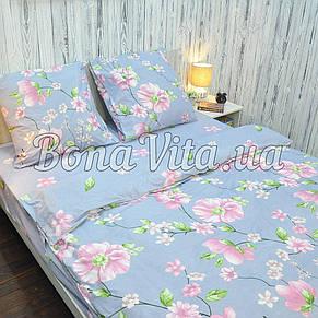 Постельное белье бязь голд люкс евро серо-голубой в розовые цветы., фото 2