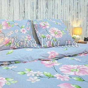 Постельное белье бязь голд люкс евро серо-голубой в розовые цветы., фото 3