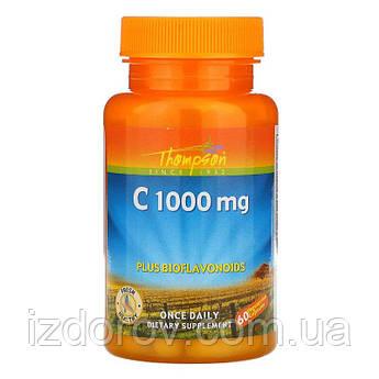 Thompson, Витамин C 1000 мг с биофлавоноидами, поддержка иммунитета, Vitamin C, 60 капсул