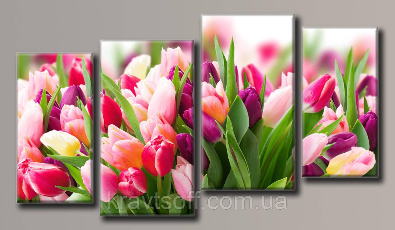 """Модульна картина на полотні з 4-х частин """"Рожеві тюльпани"""" ( 63х113 см )"""