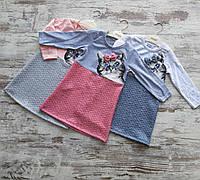 Детское платье прямое для девочки Кошечка 2-5 лет, цвет уточняйте при заказе