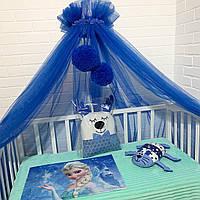 Балдахин в детскую кроватку синий с помпонами