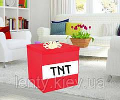 """Коробка-сюрприз """"Майнкрафт TNT"""" велика 70х70см з наклейками + декор (колір будь -)"""