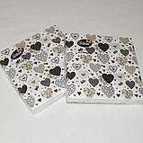 Серветки паперові 18 шт для сервірування столу 33х33 див. Сервірувальні святкові серветки чорно золоті 1940, фото 2