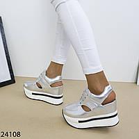 Женские летние кроссовки сникерсы сандалии серебристые с открытой пяткой