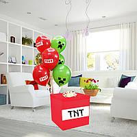 """Коробка-сюрприз """"Майнкрафт TNT"""" велика з наклейками + Гелієві кулі + декор 70х70см"""