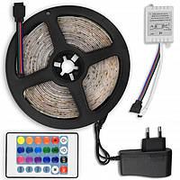 Світлодіодна стрічка LED 3528 RGB 5м з пультом і блоком живлення. LED стрічка. Діодні стрічки
