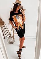 Cвободное платье футболка с нашивкой черное и белое, фото 3