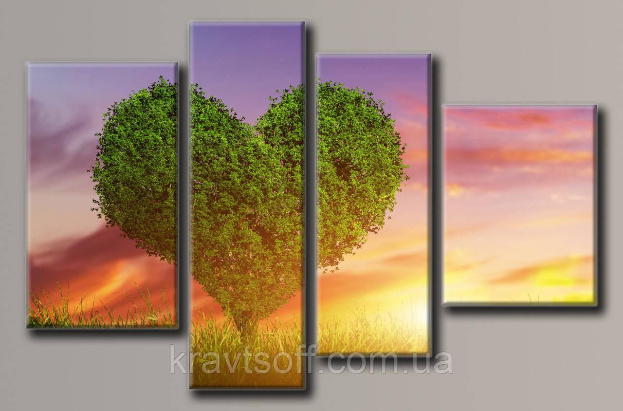 """Модульна картина на полотні з 4-х частин """"Дерево любові"""" ( 76х119 см )"""