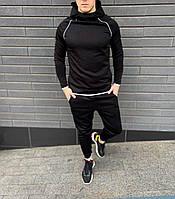 Стильный мужской спортивный костюм черный, комплект худи с капюшоном и штаны Diving Sport 2021