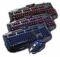 Комплект игровая проводная мышь и клавиатура с подсветкой V100