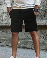 Шорты мужские летние трикотажные Lil черные | Спортивные шорты бриджи мужские на резинке ТОП качества