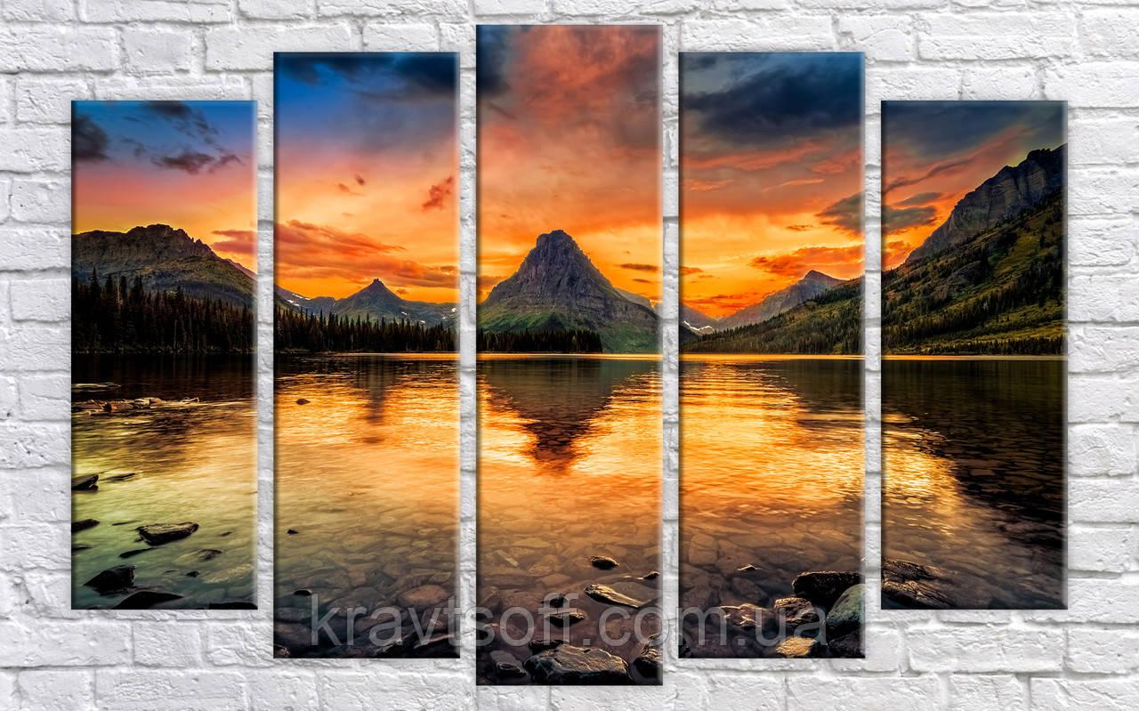"Модульная картина на холсте из 5 частей ""Горы"" ( 85х130 см ) арт.HAB-180"