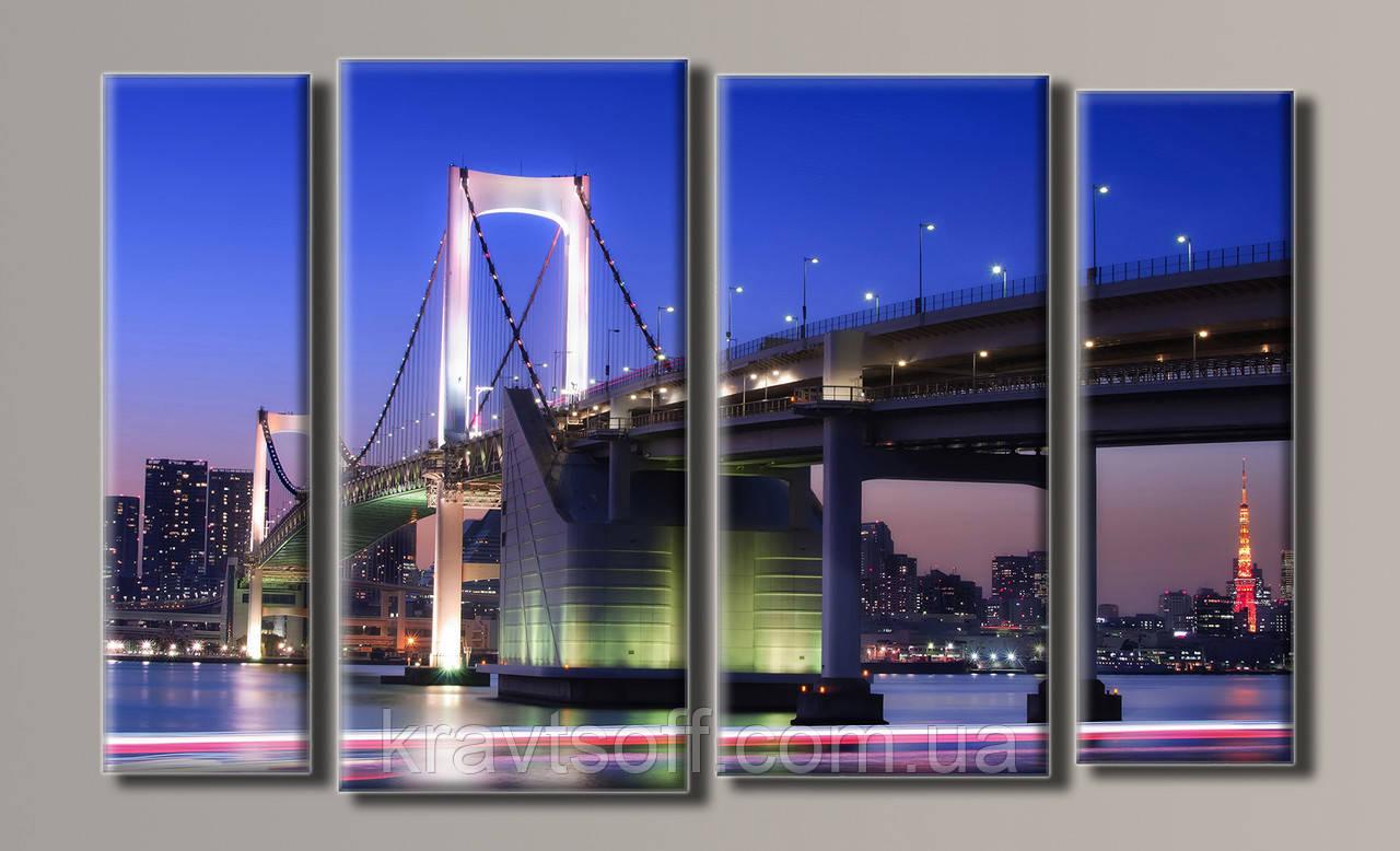 """Модульна картина на полотні з 4-х частин """"Міст в Токіо"""" ( 54х88 см )"""