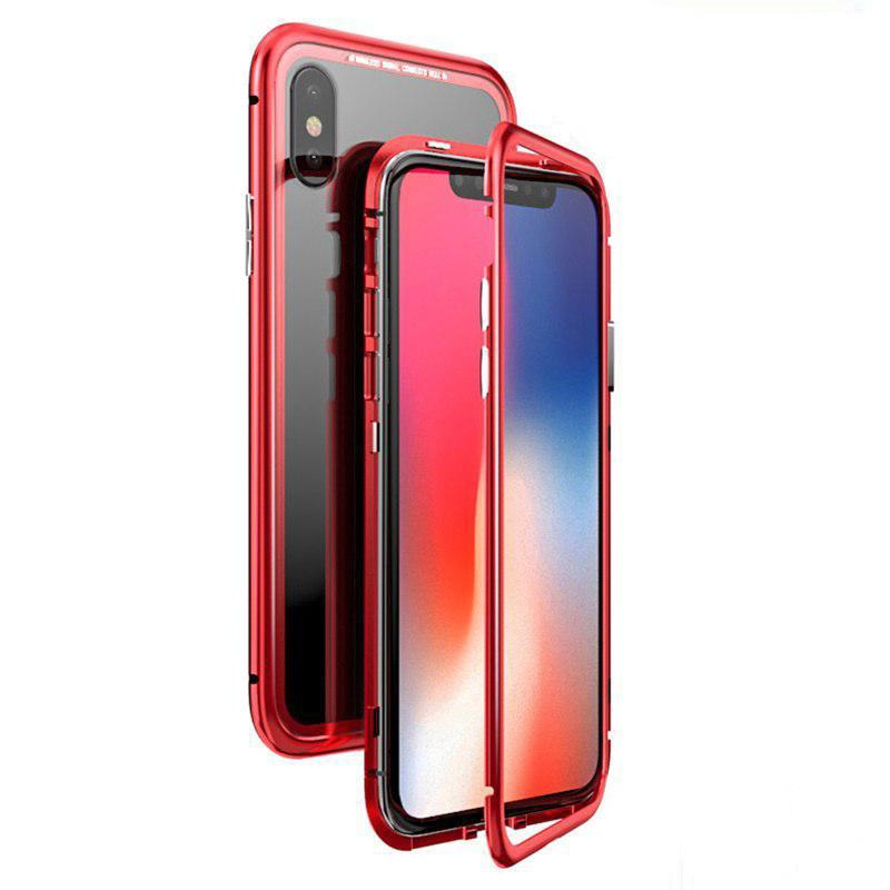 Чехол  накладка xCase для iPhone Х/XS Magnetic Case прозрачный красный